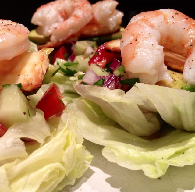 King prawn lettuce cups