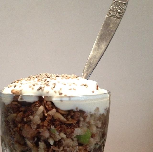 Crunchy granola sundae